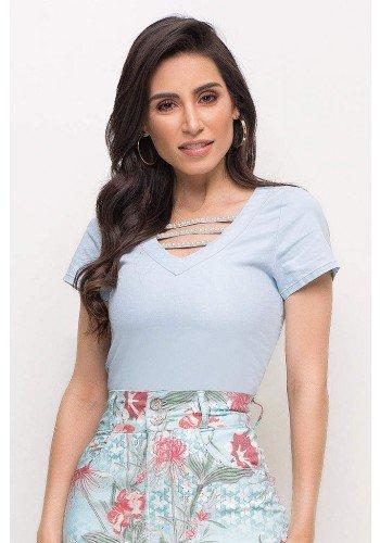 blusa jeans tiras e perolas na gola laura rosa lr89210 frente cima