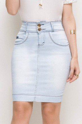 saia jeans reta azul claro tradicional laura rosa lr89157 frente baixo