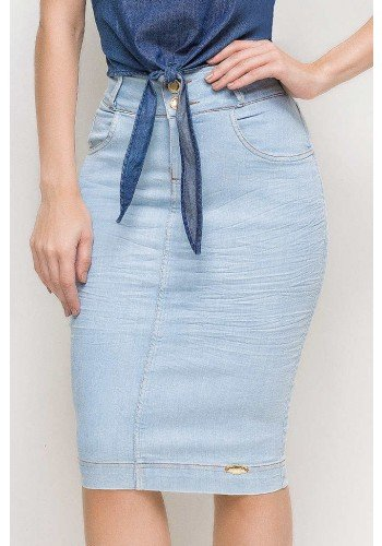saia jeans casual lapis midi cintura alta azul claro laura rosa lr89193 frente baixo