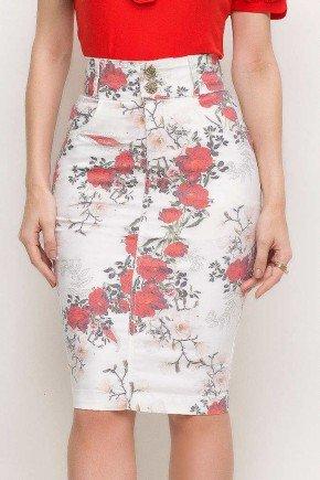 saia sarja casual lapiz midi off white cintura alta estampa floral laura rosa lr89187 frente baixo