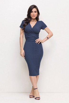 vestido casual midi transpassado tubinho manga curta em malha azul escuro laura rosa lr89207 frente