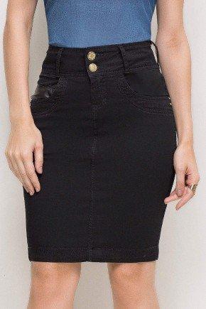 saia jeans preta reta casual social cintura alta tradicional detalhe nos bolsos laura rosa lr89163 frente baixo