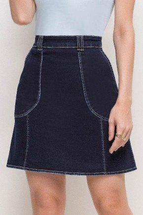 saia curta evase casual jeans azul marinho cintura alta costuras laura rosa lr89152 frente baixo