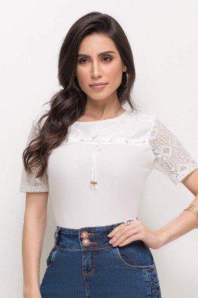 blusa viscose casual social branca manga curta detalhes em renda laura rosa lr89200 frente cima