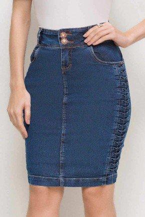 saia casual lapiz jeans tradicional azul escuro trancados nas laterais laura rosa lr89172 frente baixo easy resize com