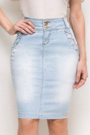 saia reta casual jeans tradicional azul claro detalhes trancados bolsos laura rosa lr89173 frente baixo