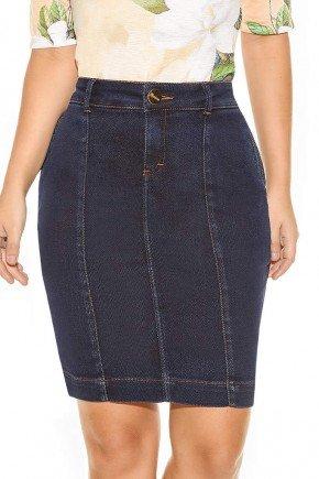 saia casual jeans reta tradicional cintura alta azul marinho com recortes titanium ttn24247 frente baixo