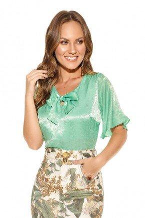 blusa casual cetim verde claro manga curta flare detalhe laco titanium jeans ttn24359 frente cima