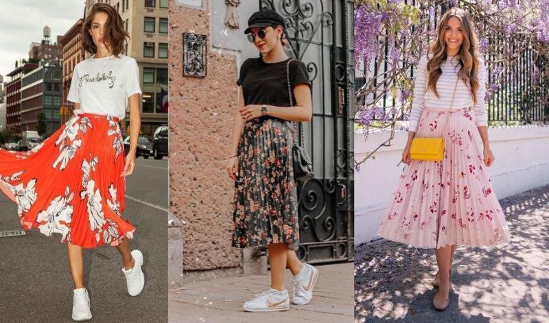 saia plissada floral moda evangelica