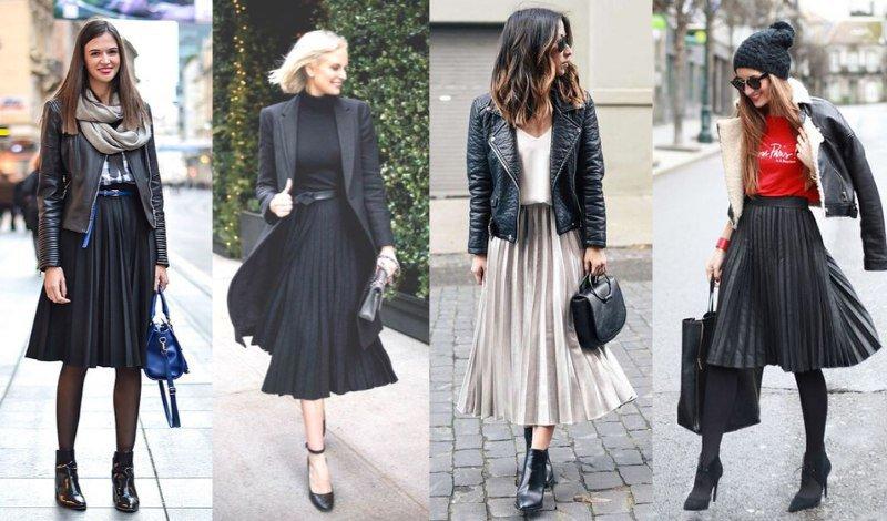 saia plissada moda evangelica look inverno