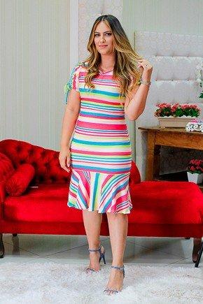 vestido sino listras coloridas em malha raje rj17690 frente
