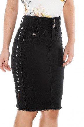 saia jeans preta galao lateral titanium jeans ttn24435 frente baixo
