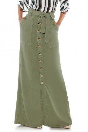 saia longa evase verde militar titanium jeans ttn24496 frente baixo