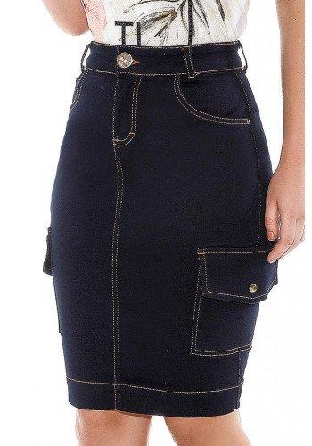 saia jeans azul marinho bolsos laterais titanium ttn24409 frente baixo