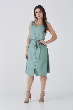vestido verde evase regata com abotoamento frontal