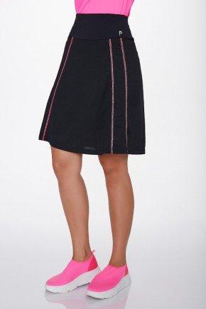 shorts saia preto poliamida costura rosa uv50 epulari ep0173 frente baixo