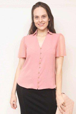 blusa rose mangas com tule