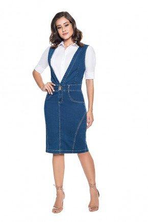 vestido secretaria em malha jeans frente