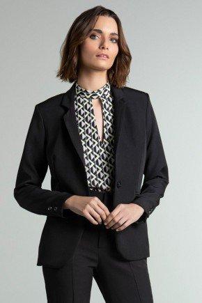 blazer alfaiataria preto celeste frente