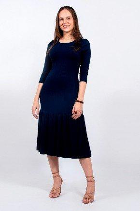 vestido azul marinho mangas 3 4 barrado franzido greice lekazis frente