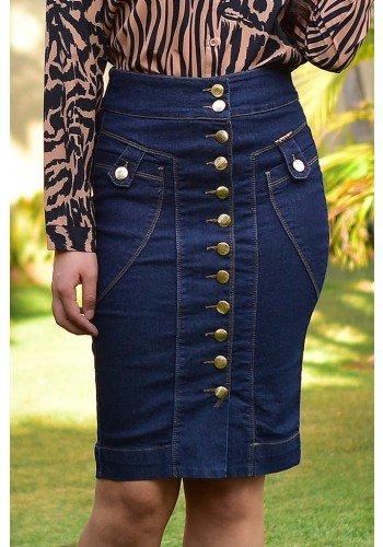 saia jeans reta abotoamento frontal dyork dk2647 frente baixo