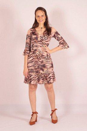 vestido animal print marrom detalhe tule giovanna lekazis frente