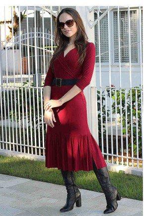 vestido bordo transpassado luciene lekazis frente