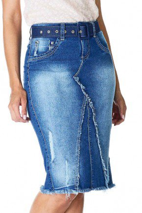 saia jeans recortes e barra desfiada dyork frente baixo