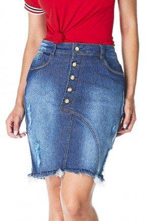 saia jeans barra desfiada detalhe botoes dyork frente baixo