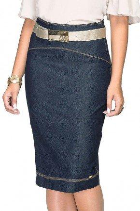saia jeans azul escuro costuras aparentes dyork frente baixo