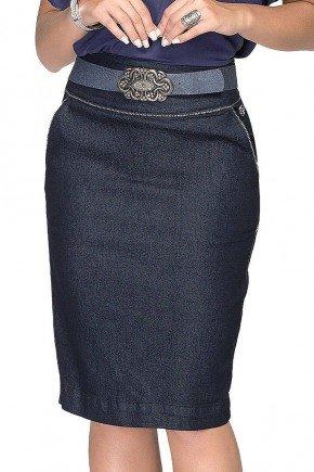saia azul marinho jeans com linhas claras dyork frente baixo