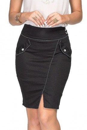 saia jeans preta costuras aparentes e fendas dyork frente baixo