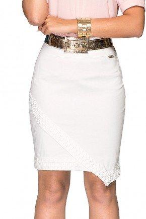 saia branca jeans com renda dyork frente baixo