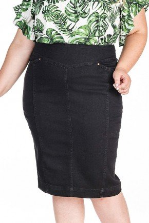 saia preta jeans plus com recortes dyork frente baixo