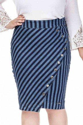saia jeans listrada com botoes de enfeite no recorte dyork frente baixo