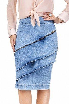 saia jeans midi com recorte e babados frontais dyork frente baixo