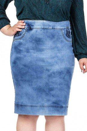 saia jeans claro detalhes de pregas nos bolsos da frente dyork frente baixo