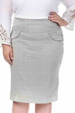 saia jeans cinza estampada com pala arredondada dyork frente baixo