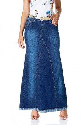 saia longa jeans sereia barra virada dyork frente baixo