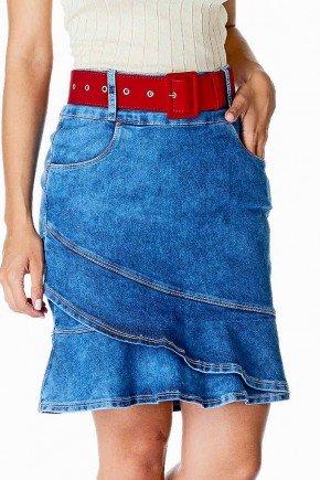 saia jeans detalhe babado na barra dyork frente baixo