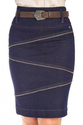 saia jeans com recortes e ziperes frente
