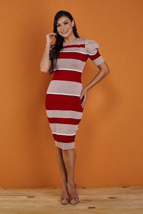 vestido vermelho listrado com lurex tata martello frente