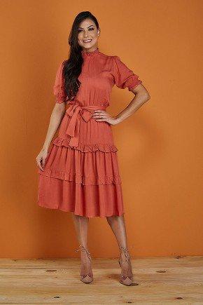 vestido coral gola alta tata martello rosangela frente