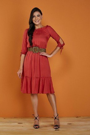 vestido vermelho mangas 3 4 com aberturas tata martello sandra frente