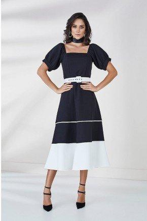 vestido evase preto com branco cleo cloa frente