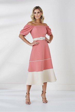 vestido evase rosa terra cleo cloa frente