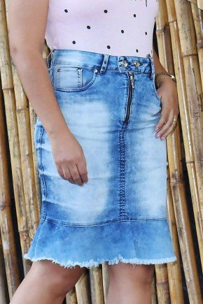 saia jeans barra evase desfiada frente