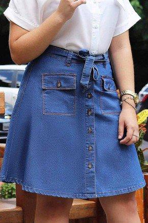 saia jeans evase bolsos e abotoamento frontal frente