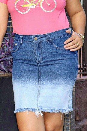 saia jeans degrade barra desfiada frente