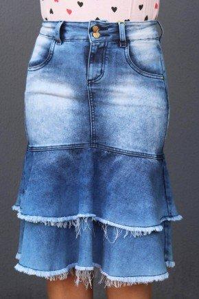 saia jeans sino babados e barra desfiada frente